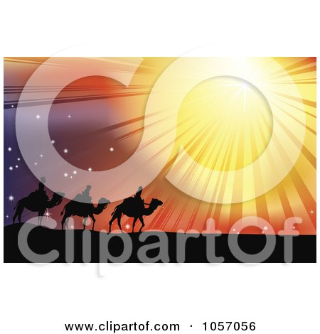 Royalty-Free Vector Clip Art Illustration of The Three Wise Men Following The Star Of Bethlehem In The Desert Posters, Art Prints