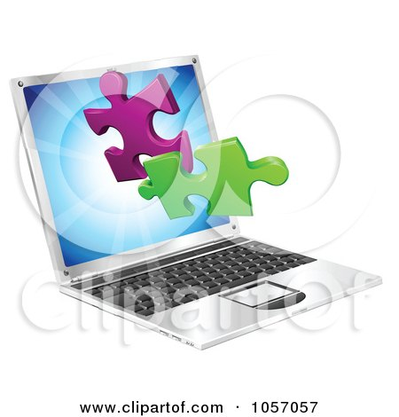Royalty-Free Vector Clip Art Illustration of a Laptop Computer With 3d Jigsaw Puzzle Pieces by AtStockIllustration