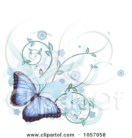 Royalty-Free Vector Clip Art Illustration of a Blue Morpho Peleides Butterfly With Hibiscus Flowers And Vines by AtStockIllustration