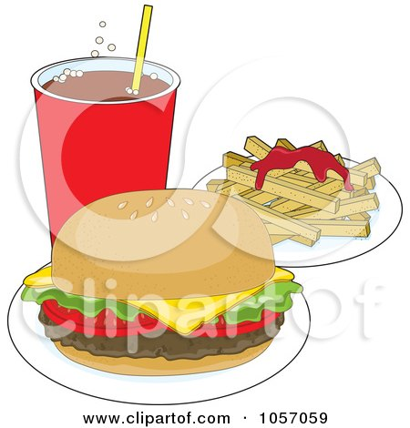 Royalty-Free Vector Clip Art Illustration of a Cheeseburger Served With Soda And Fries With Ketchup by Maria Bell