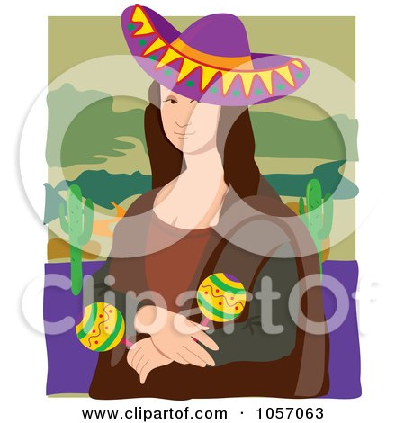 Royalty-Free Vector Clip Art Illustration of a Portrait Of A Mexican Mona Lisa, With White Edges by Maria Bell