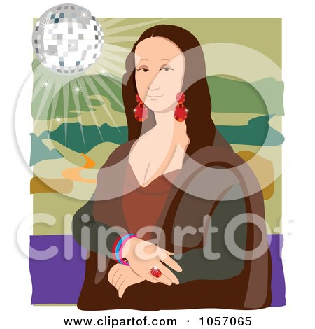 Royalty-Free Vector Clip Art Illustration of a Portrait Of Mona Lisa With A Disco Ball, With White Edges by Maria Bell
