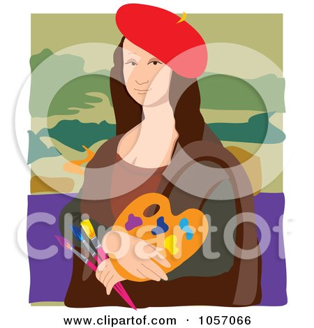 Portrait Of Mona Lisa As An Artist, With White Edges Posters, Art Prints