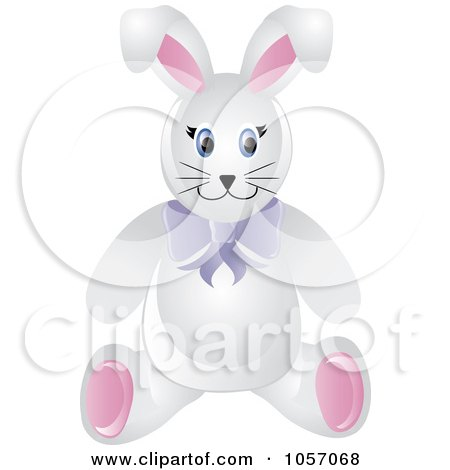 Royalty-Free Vector Clip Art Illustration of a Stuffed Male Bunny Rabbit Wearing A Purple Bow by Pams Clipart