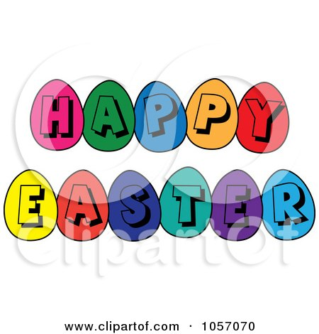 Royalty-Free Vector Clip Art Illustration of a Happy Easter Greeting Of Colorful Eggs by Pams Clipart