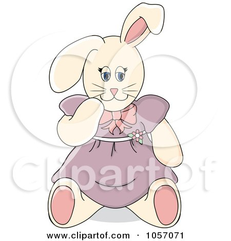 Royalty-Free Vector Clip Art Illustration of a Stuffed Female Bunny Rabbit In A Purple Dress by Pams Clipart