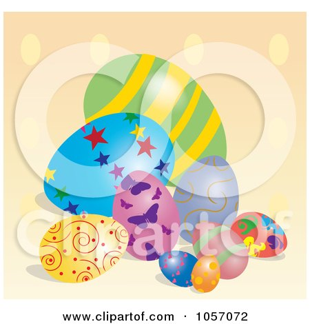 Royalty-Free Vector Clip Art Illustration of Easter Eggs On A Polka Dot Background by Pams Clipart