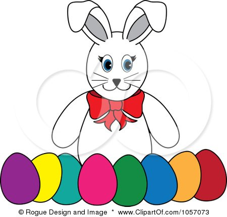 Royalty-Free Vector Clip Art Illustration of a White Rabbit With A Row Of Easter Eggs by Pams Clipart