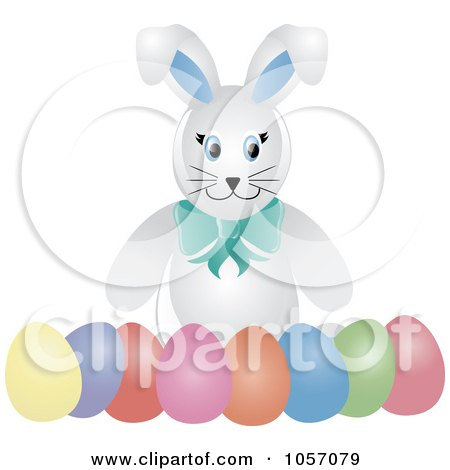 Royalty-Free Vector Clip Art Illustration of a White Bunny With A Row Of Easter Eggs by Pams Clipart