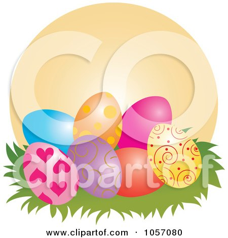 Royalty-Free Vector Clip Art Illustration of Easter Eggs In Grass Against An Orange Circle by Pams Clipart