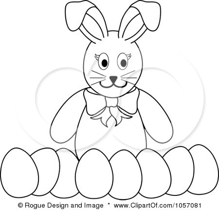 Royalty-Free Vector Clip Art Illustration of a Coloring Page Outline Of A Bunny With A Row Of Easter Eggs by Pams Clipart