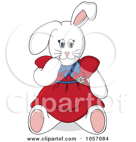 Royalty-Free Vector Clip Art Illustration of a Stuffed Female Bunny Rabbit In A Red Dress by Pams Clipart