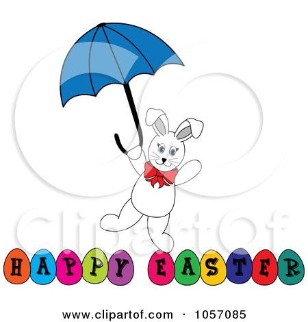 Royalty-Free Vector Clip Art Illustration of a White Bunny With An Umbrella Over Happy Easter Eggs by Pams Clipart