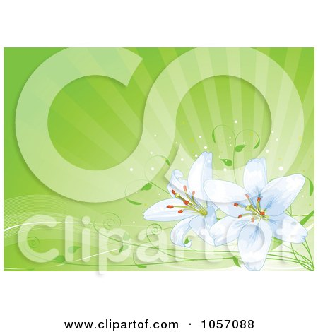 Royalty-Free Vector Clip Art Illustration of Light Blue Lilies Over Green Rays by Pushkin