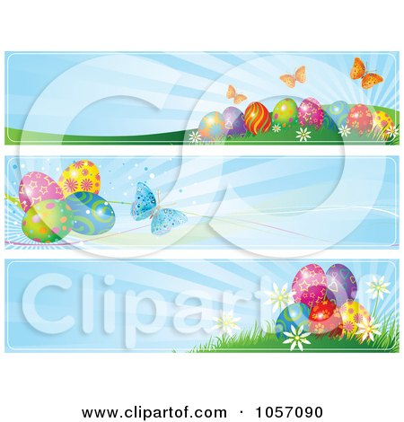 Royalty-Free Vector Clip Art Illustration of a Digital Collage Of Easter Egg And Butterfly Website Banners With Blue Rays by Pushkin