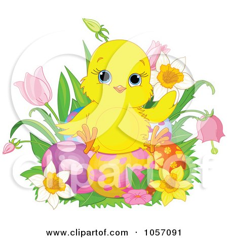 Cartoon of a Cute Easter Chick Wearing a Pink Easter Bow ... Easter Clip Art Free Small
