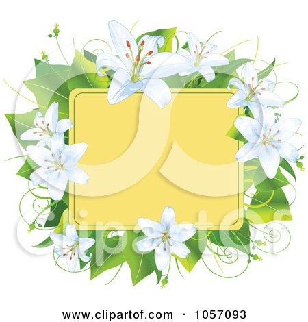 Royalty-Free Vector Clip Art Illustration of a Frame Of Easter Lilies And Leaves by Pushkin