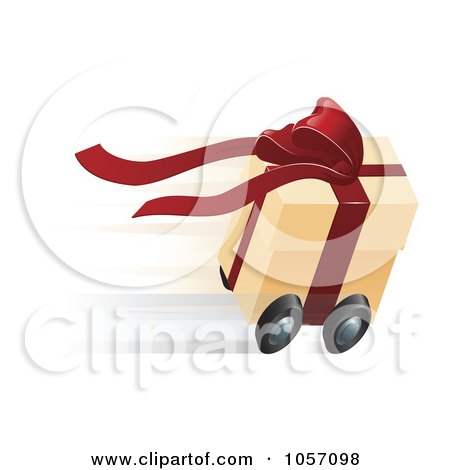 Royalty-Free Vector Clip Art Illustration of a Fast Gift Box On Wheels by AtStockIllustration