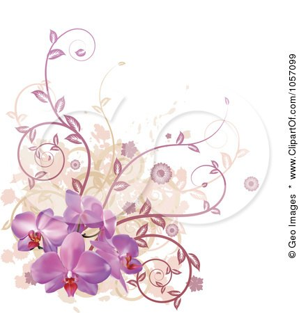 Royalty-Free Vector Clip Art Illustration of a Corner Design Element Of Purple Orchid Flowers, Vines And Grunge by AtStockIllustration