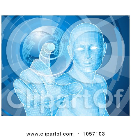 Royalty-Free Vector Clip Art Illustration of a Futuristic Blue Person Pushing A Globe Button by AtStockIllustration