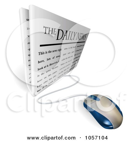 Royalty-Free Vector Clip Art Illustration of a 3d Computer Mouse Connected To A Daily Newspaper by AtStockIllustration