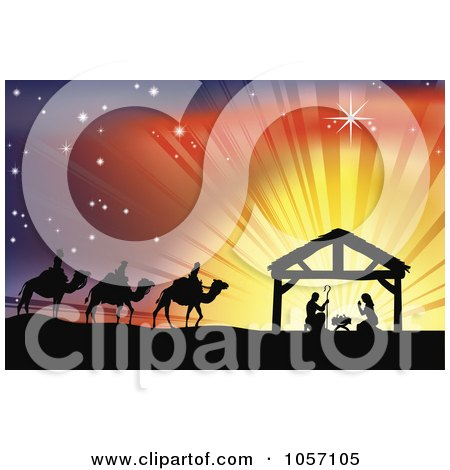 Silhouetted Traditional Christian Nativity Scene With The Three Wise Men And The Manger Against Rays Posters, Art Prints