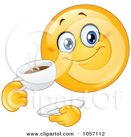 Royalty-Free Vector Clip Art Illustration of an Emoticon Drinking Coffee by yayayoyo