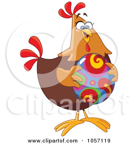 Royalty-Free Vector Clip Art Illustration of a Chicken Holding A Colorful Easter Egg by yayayoyo
