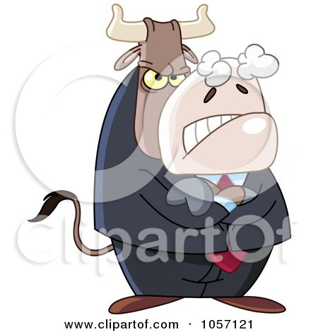 Royalty-Free Vector Clip Art Illustration of a Mean Business Bull by yayayoyo