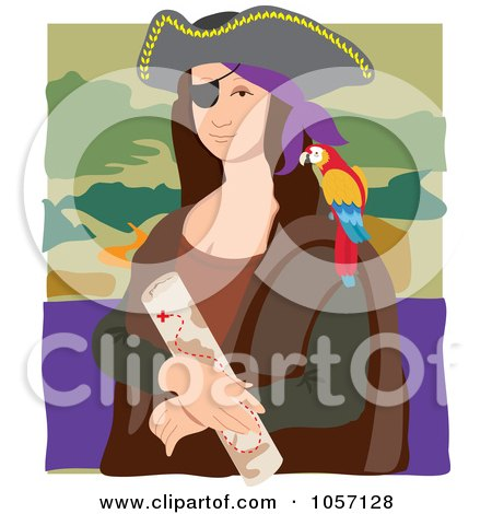 Portrait Of Mona Lisa As A Pirate, With White Edges Posters, Art Prints