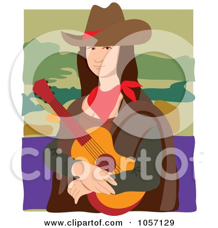 Royalty-Free Vector Clip Art Illustration of a Portrait Of Mona Lisa As A Cowgirl, With White Edges by Maria Bell