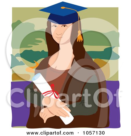 Portrait Of Mona Lisa As A Graduate, With White Edges Posters, Art Prints
