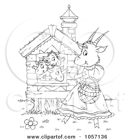 Royalty-Free Clip Art Illustration of a Coloring Page Outline Of Goat Kids Waving To Their Mom by Alex Bannykh