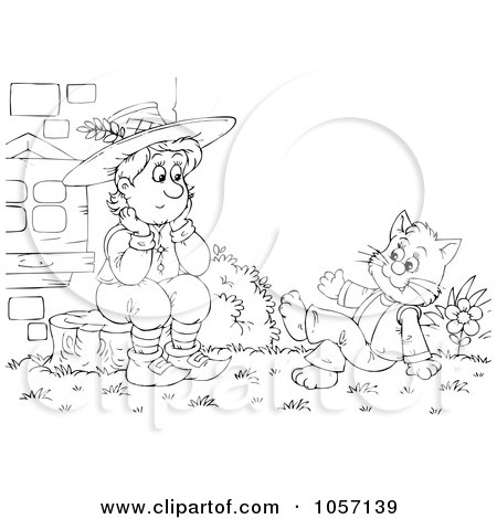 Royalty-Free Clip Art Illustration of a Coloring Page Outline Of Puss Talking To A Man by Alex Bannykh