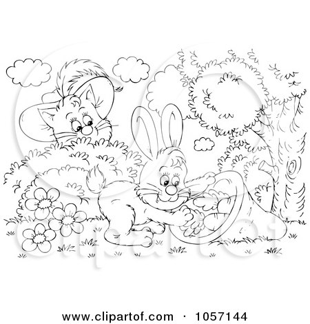 Royalty-Free Clip Art Illustration of a Coloring Page Outline Of Puss In Boots Watching A Rabbit by Alex Bannykh