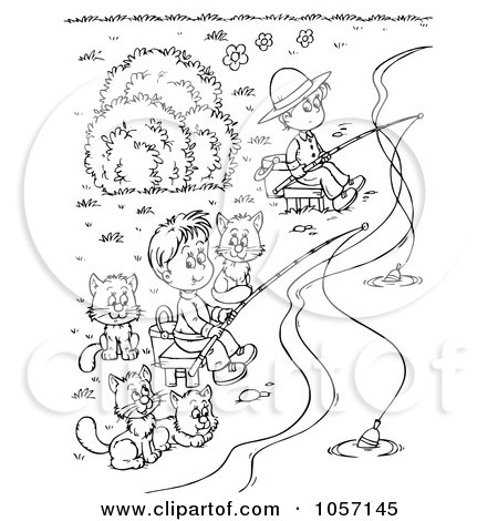 Royalty-Free Clip Art Illustration of a Coloring Page Outline Of Boys And Cats Fishing by Alex Bannykh