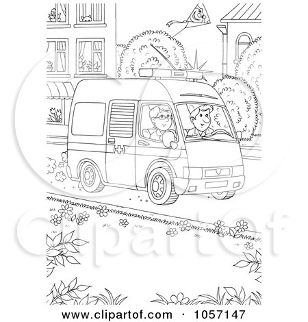 Royalty-Free Clip Art Illustration of a Coloring Page Outline Of An Ambulance by Alex Bannykh