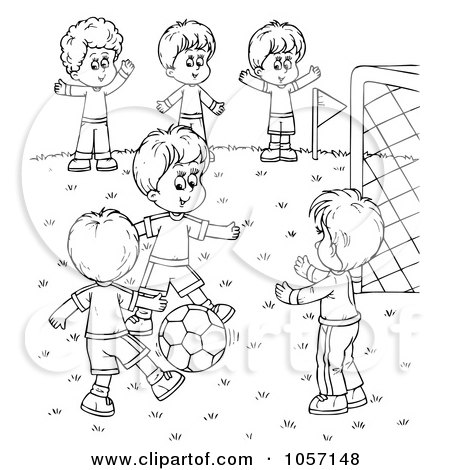 Royalty Free Clip Art Illustration Of A Coloring Page Outline Boys Playing Soccer By Alex Bannykh