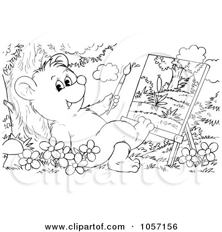 Royalty-Free Clip Art Illustration of a Coloring Page Outline Of A Bear Cub Painting by Alex Bannykh