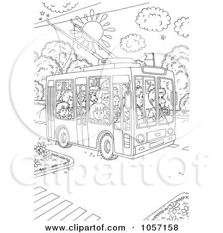 Royalty-Free Clip Art Illustration of a Coloring Page Outline Of People Using A Public Tram - 1 by Alex Bannykh