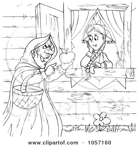 Royalty-Free Clip Art Illustration of a Coloring Page Outline Of A Witch Handing A Girl A Poisoned Apple by Alex Bannykh