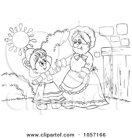 Royalty-Free Clip Art Illustration of a Coloring Page Outline Of Red Riding Hood And Granny by Alex Bannykh