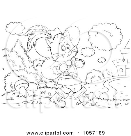 Royalty-Free Clip Art Illustration of a Coloring Page Outline Of Puss In Boots Walking To A Castle by Alex Bannykh
