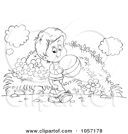 Royalty-Free Clip Art Illustration of a Coloring Page Outline Of A Boy Carrying A Ball by Alex Bannykh