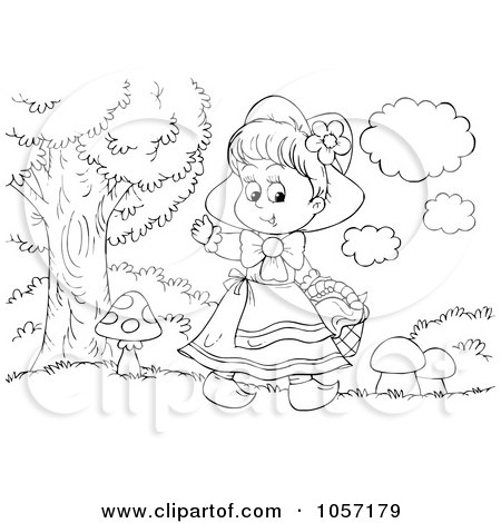 Royalty-Free Clip Art Illustration of a Coloring Page Outline Of Red Riding Hood Waving by Alex Bannykh