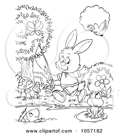 Royalty-Free Clip Art Illustration of a Coloring Page Outline Of A Rabbit Going Fishing by Alex Bannykh