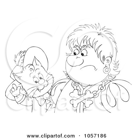 Royalty-Free Clip Art Illustration of a Coloring Page Outline Of Puss In Boots Talking To A Grumpy Man by Alex Bannykh
