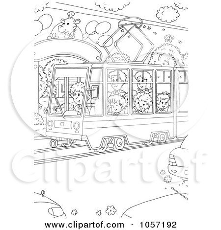 Royalty-Free Clip Art Illustration of a Coloring Page Outline Of People Using A Public Tram - 2 by Alex Bannykh