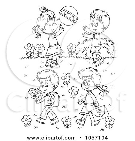 Royalty-Free Clip Art Illustration of a Coloring Page Outline Of Children Playing Outside by Alex Bannykh