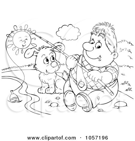 Royalty-Free Clip Art Illustration of a Coloring Page Outline Of A Man Fishing With His Dog by Alex Bannykh